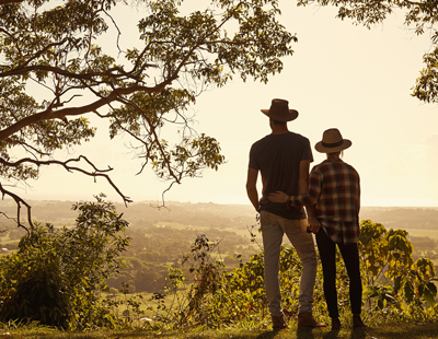 couple looking out over country side